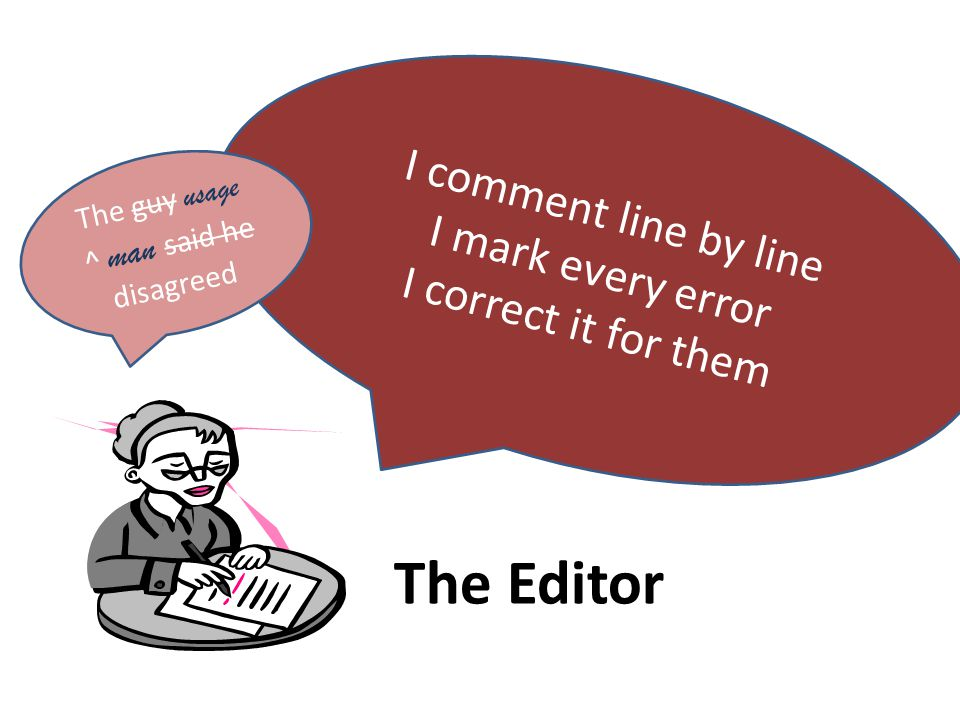 I comment line by line I mark every error I correct it for them The guy usage ^ man said he disagreed The Editor
