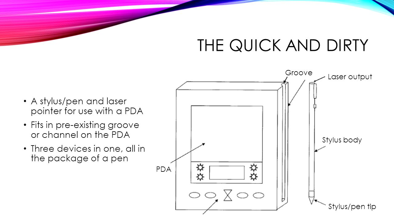 THE QUICK AND DIRTY A stylus/pen and laser pointer for use with a PDA Fits in pre-existing groove or channel on the PDA Three devices in one, all in the package of a pen Stylus/pen tip Laser output Groove PDA Stylus body