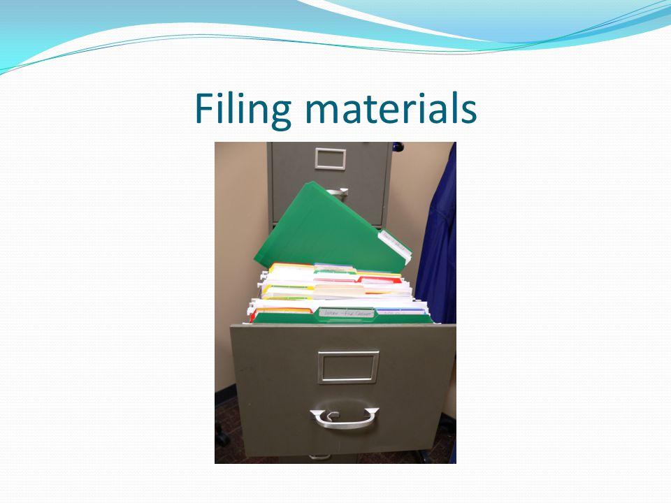 Filing materials