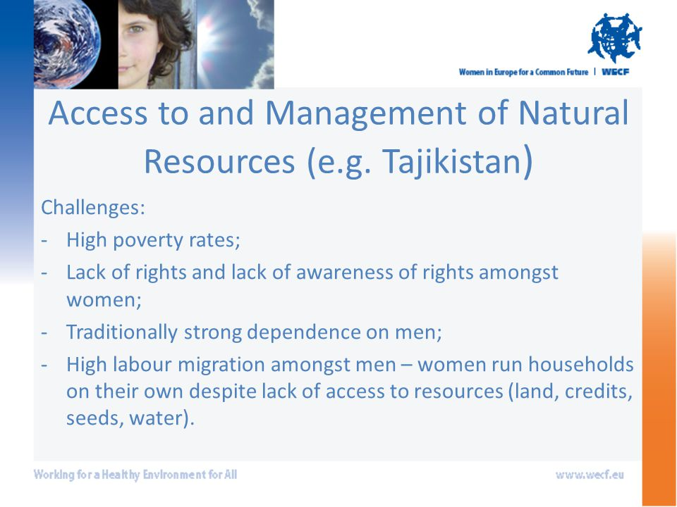 Access to and Management of Natural Resources (e.g.
