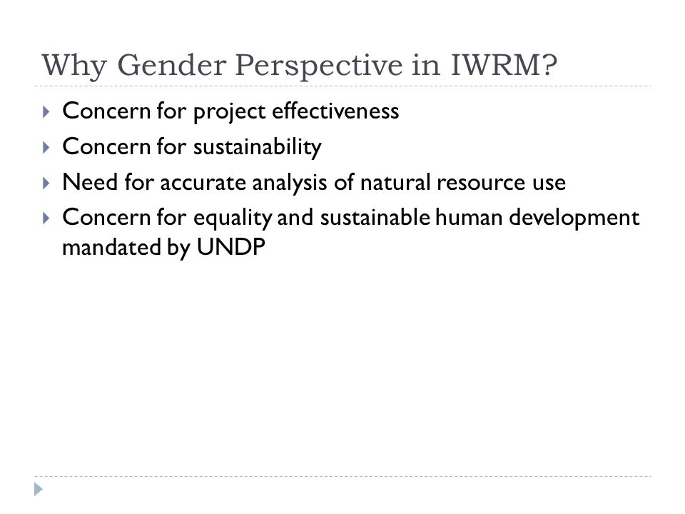 Why Gender Perspective in IWRM.