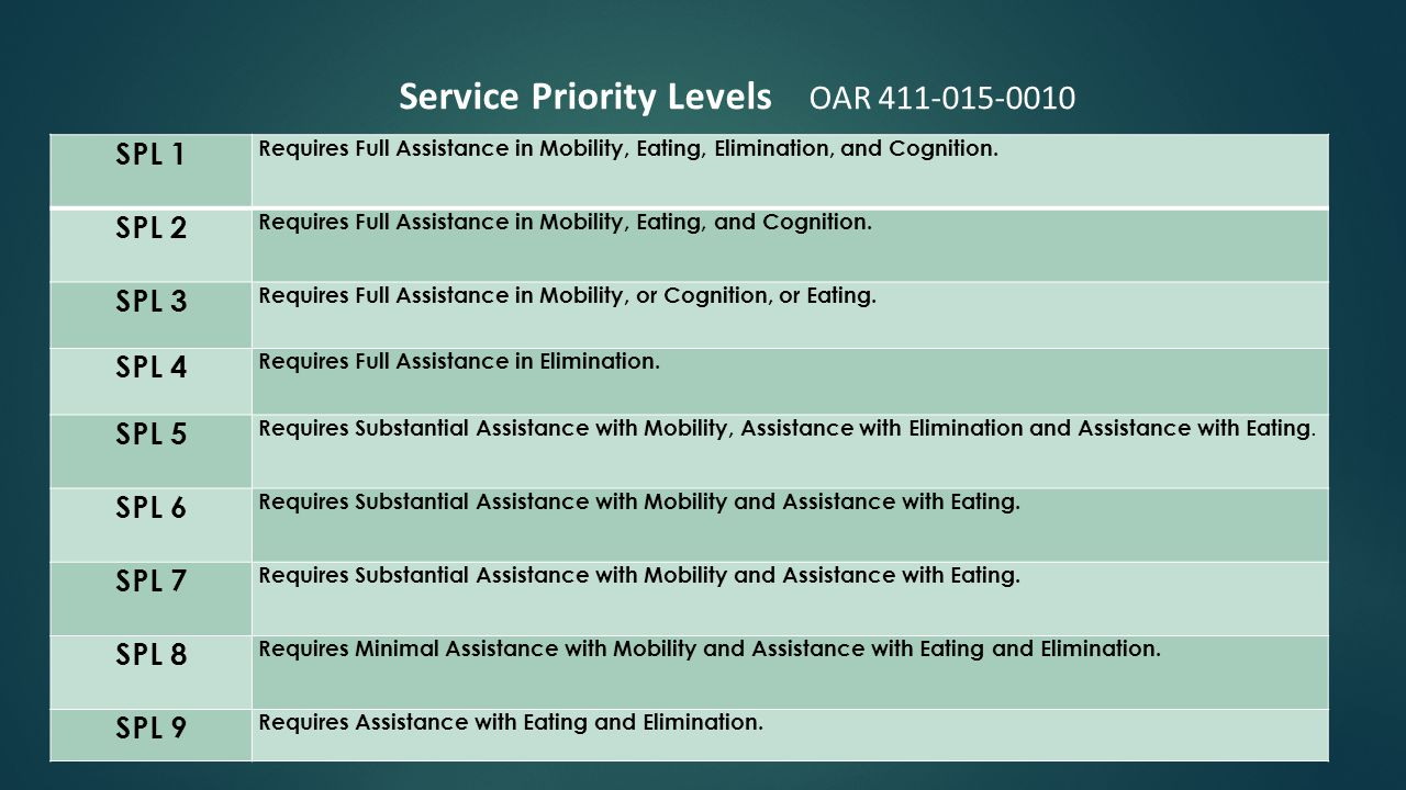 SPL 1 Requires Full Assistance in Mobility, Eating, Elimination, and Cognition.