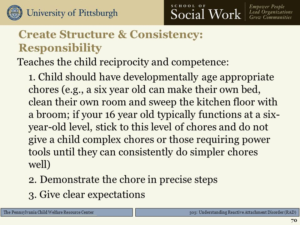 303: Understanding Reactive Attachment Disorder (RAD) The Pennsylvania Child Welfare Resource Center Create Structure & Consistency Allows the child t