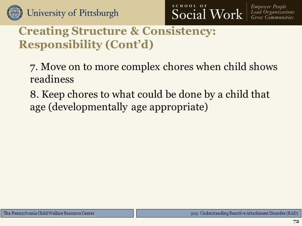 303: Understanding Reactive Attachment Disorder (RAD) The Pennsylvania Child Welfare Resource Center Creating Structure & Consistency: Responsibility