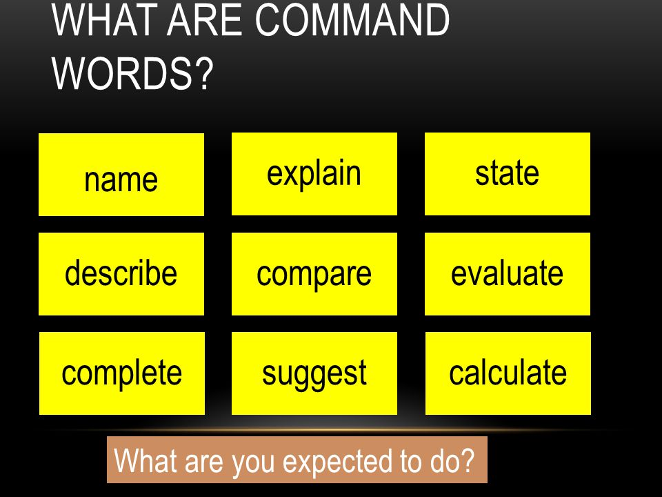 name WHAT ARE COMMAND WORDS? explainstate describecompareevaluate completesuggestcalculate What are you expected to do?