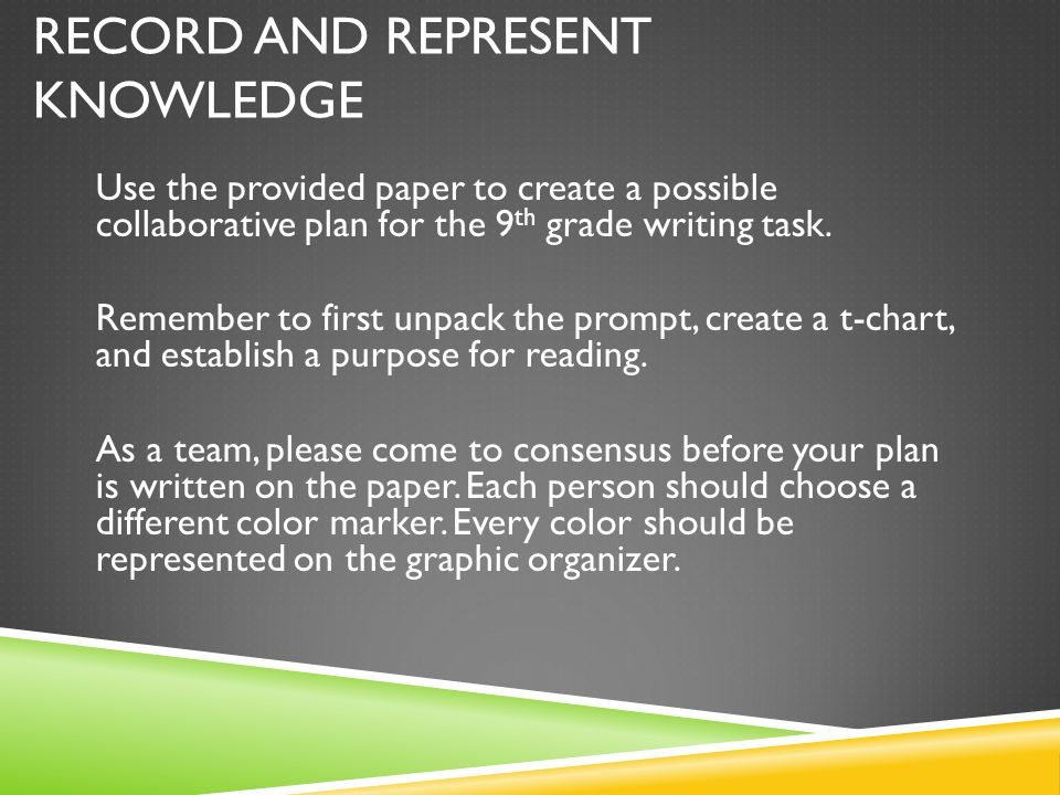 RECORD AND REPRESENT KNOWLEDGE Use the provided paper to create a possible collaborative plan for the 9 th grade writing task. Remember to first unpac