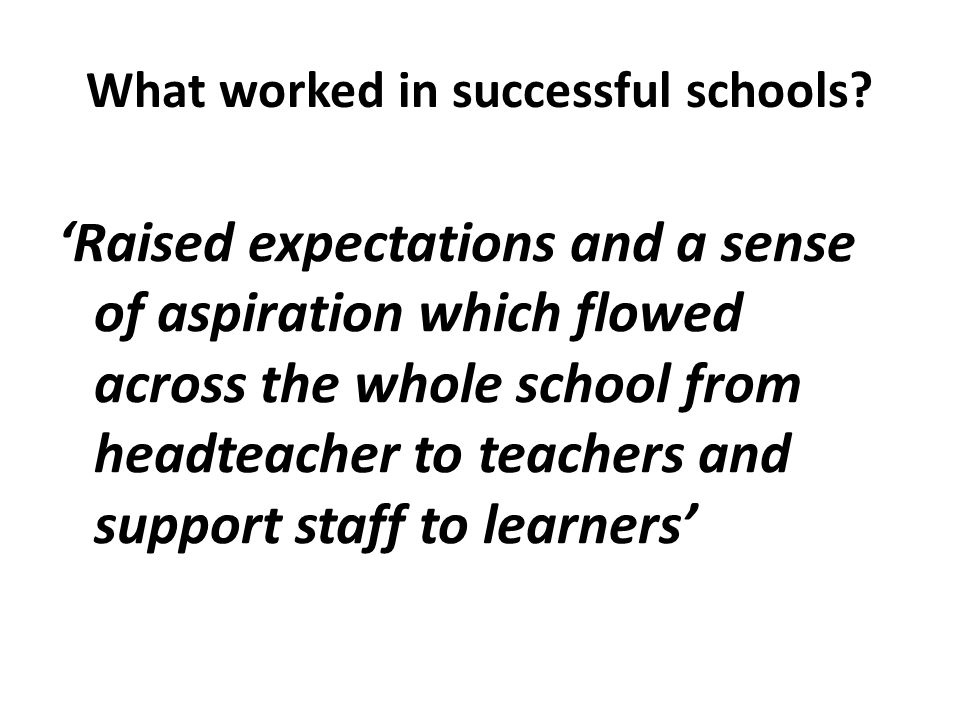 What worked in successful schools.