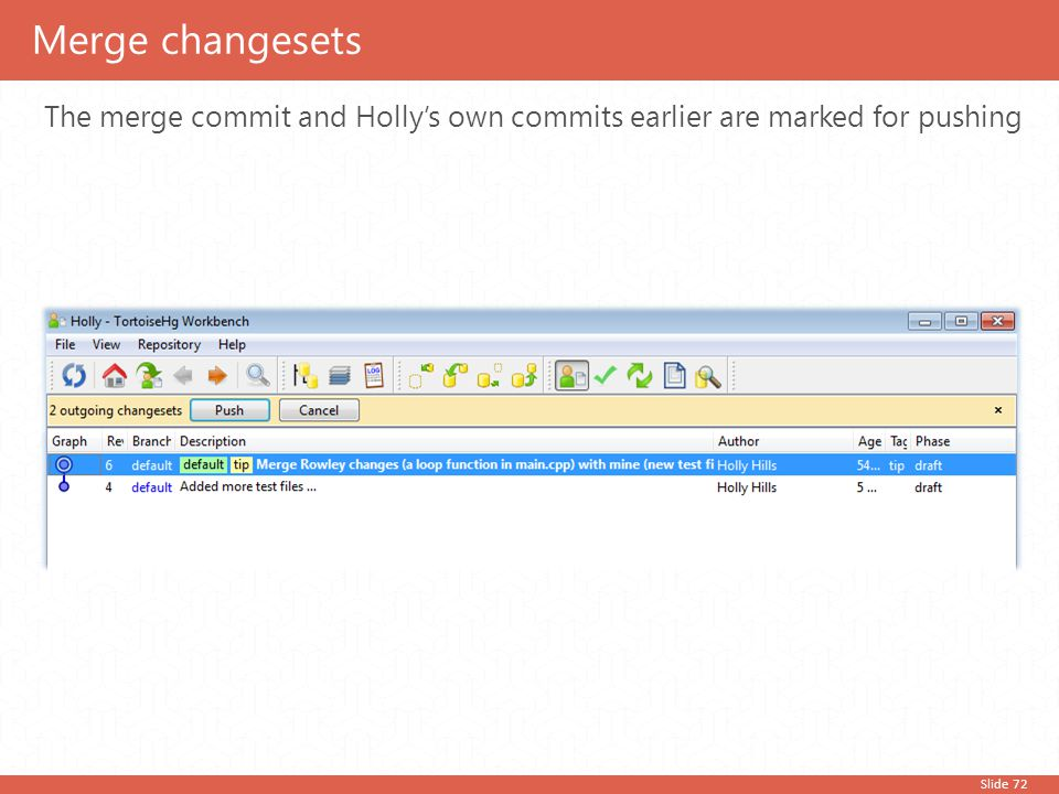 Slide 72 The merge commit and Holly's own commits earlier are marked for pushing Merge changesets