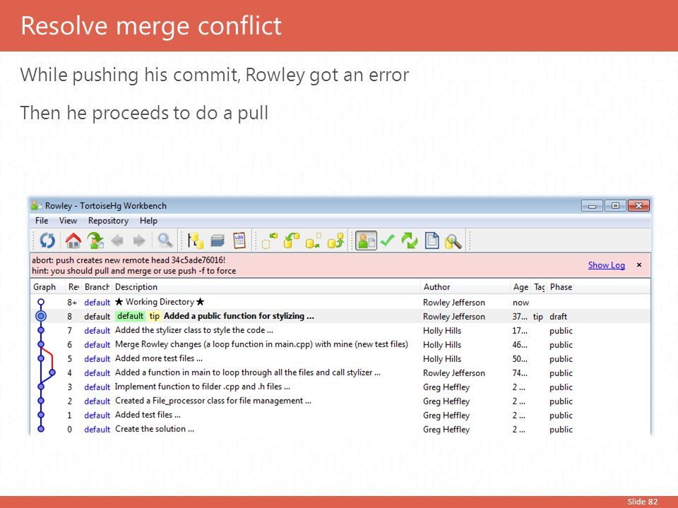 Slide 82 While pushing his commit, Rowley got an error Then he proceeds to do a pull Resolve merge conflict