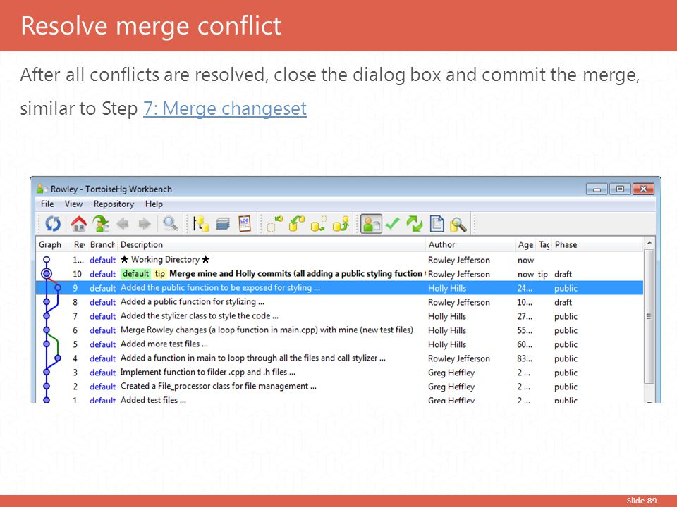 Slide 89 After all conflicts are resolved, close the dialog box and commit the merge, similar to Step 7: Merge changeset7: Merge changeset Resolve mer