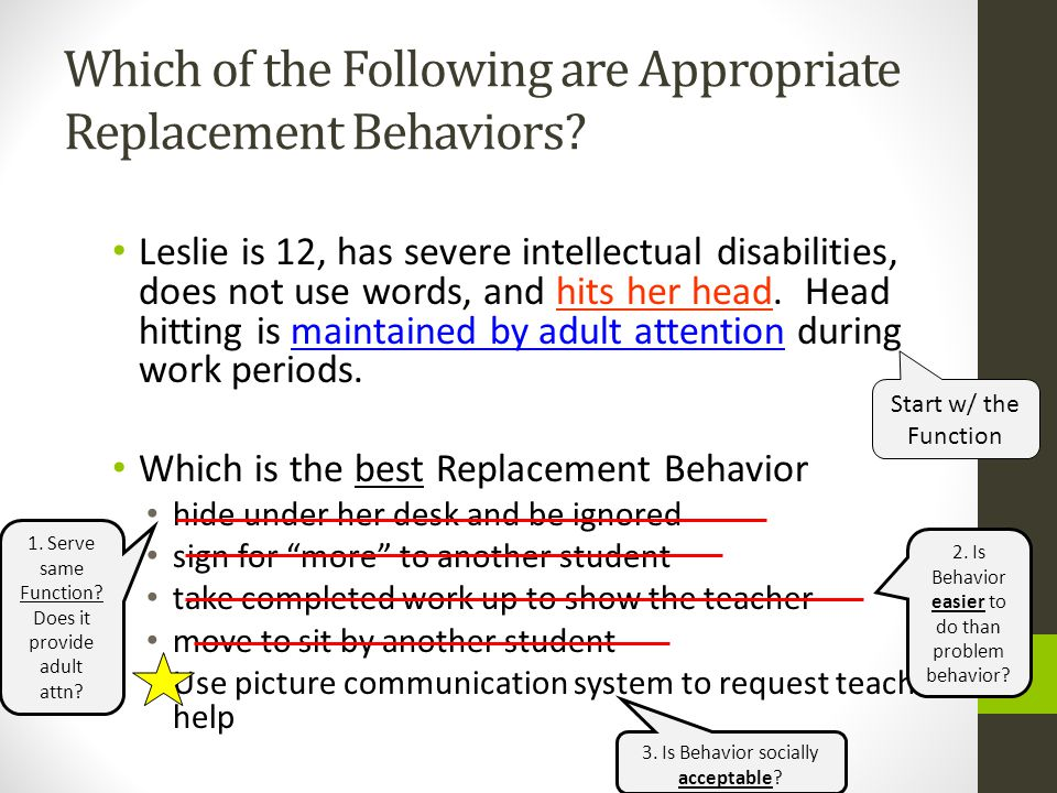 Which of the Following are Appropriate Replacement Behaviors? Leslie is 12, has severe intellectual disabilities, does not use words, and hits her hea