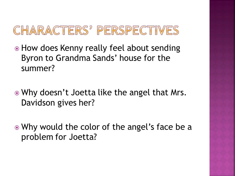  How does Kenny really feel about sending Byron to Grandma Sands' house for the summer.