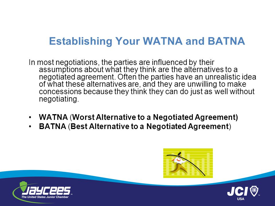 Establishing Your WATNA and BATNA In most negotiations, the parties are influenced by their assumptions about what they think are the alternatives to
