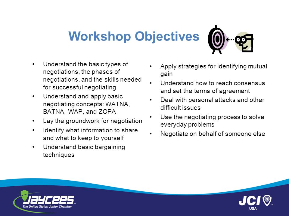 Workshop Objectives Understand the basic types of negotiations, the phases of negotiations, and the skills needed for successful negotiating Understan