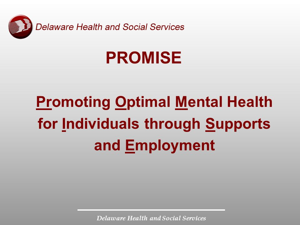Delaware Health and Social Services PROMISE Promoting Optimal Mental Health for Individuals through Supports and Employment