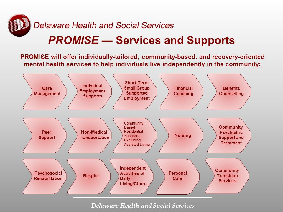 Delaware Health and Social Services PROMISE — Services and Supports PROMISE will offer individually-tailored, community-based, and recovery-oriented mental health services to help individuals live independently in the community: Care Management Individual Employment Supports Short-Term Small Group Supported Employment Financial Coaching Benefits Counselling Peer Support Non-Medical Transportation Community- Based Residential Supports, Excluding Assisted Living Nursing Community Psychiatric Support and Treatment Psychosocial Rehabilitation Respite Independent Activities of Daily Living/Chore Personal Care Community Transition Services