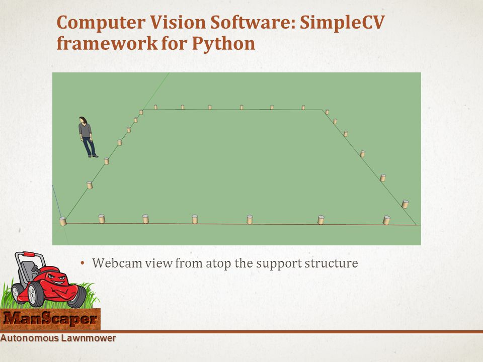 Autonomous Lawnmower Computer Vision Software: SimpleCV framework for Python Blah Webcam view from atop the support structure