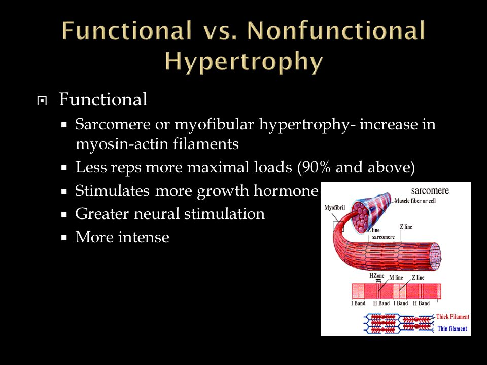  Functional  Sarcomere or myofibular hypertrophy- increase in myosin-actin filaments  Less reps more maximal loads (90% and above)  Stimulates more growth hormone  Greater neural stimulation  More intense