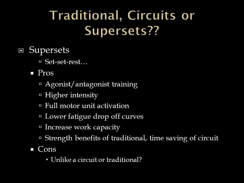  Supersets  Set-set-rest…  Pros  Agonist/antagonist training  Higher intensity  Full motor unit activation  Lower fatigue drop off curves  Inc