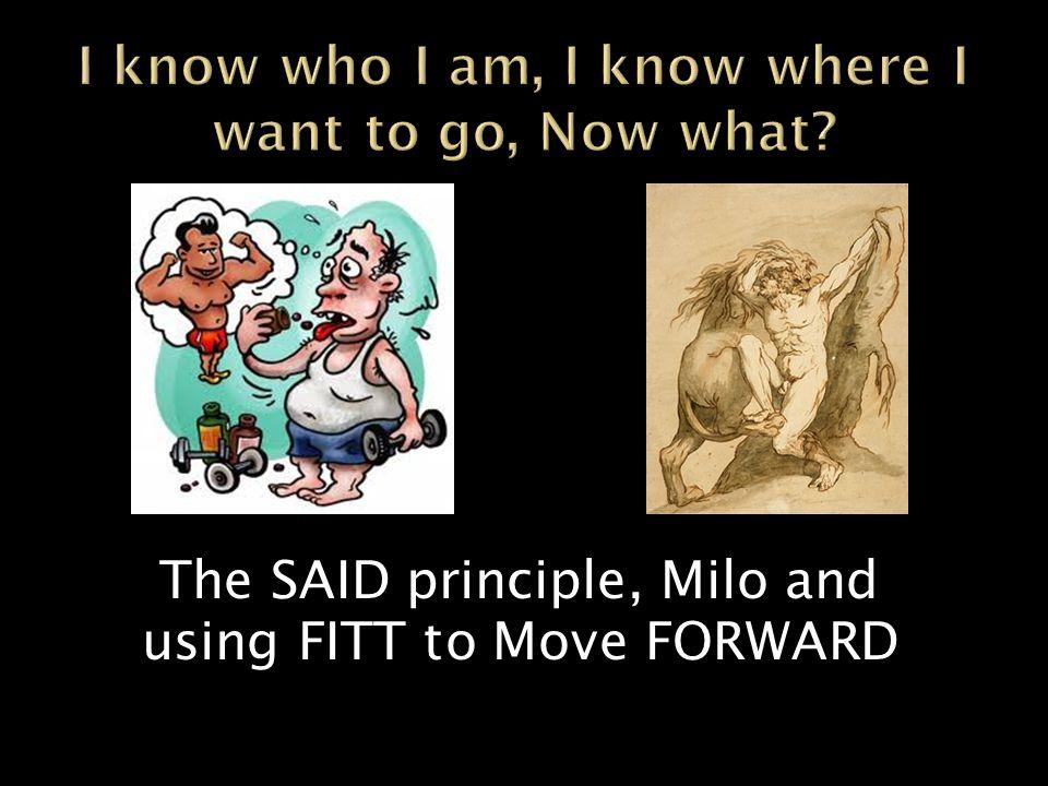 The SAID principle, Milo and using FITT to Move FORWARD