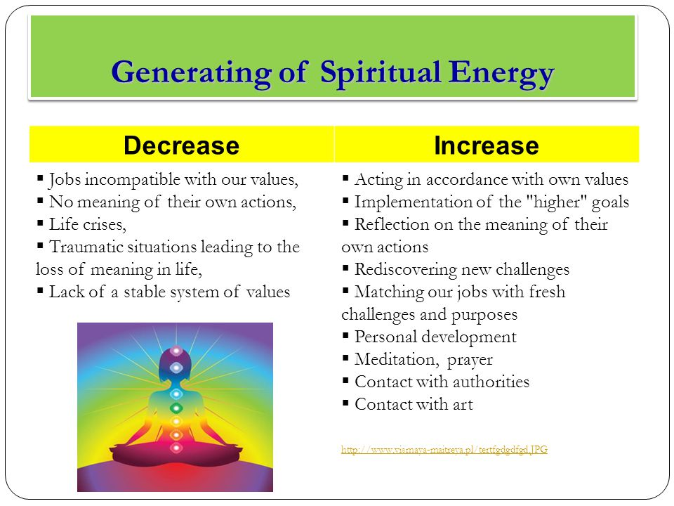 Generating of Spiritual Energy DecreaseIncrease  Jobs incompatible with our values,  No meaning of their own actions,  Life crises,  Traumatic situations leading to the loss of meaning in life,  Lack of a stable system of values  Acting in accordance with own values  Implementation of the higher goals  Reflection on the meaning of their own actions  Rediscovering new challenges  Matching our jobs with fresh challenges and purposes  Personal development  Meditation, prayer  Contact with authorities  Contact with art http://www.vismaya-maitreya.pl/tertfgdgdfgd.JPG