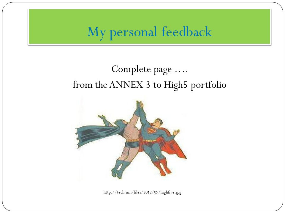 My personal feedback Complete page ….