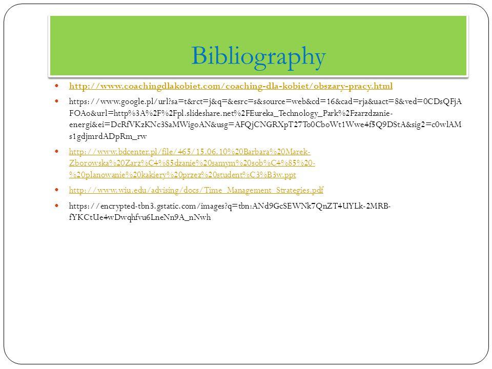 Bibliography http://www.coachingdlakobiet.com/coaching-dla-kobiet/obszary-pracy.html https://www.google.pl/url sa=t&rct=j&q=&esrc=s&source=web&cd=16&cad=rja&uact=8&ved=0CDsQFjA FOAo&url=http%3A%2F%2Fpl.slideshare.net%2FEureka_Technology_Park%2Fzarzdzanie- energi&ei=DcRfVKzKNc3SaMWigoAN&usg=AFQjCNGRXpT27To0CboWt1Wwe4f5Q9DStA&sig2=c0wlAM s1gdjmrdADpRm_rw http://www.bdcenter.pl/file/465/15.06.10%20Barbara%20Marek- Zborowska%20Zarz%C4%85dzanie%20samym%20sob%C4%85%20- %20planowanie%20kakiery%20przez%20student%C3%B3w.ppt http://www.bdcenter.pl/file/465/15.06.10%20Barbara%20Marek- Zborowska%20Zarz%C4%85dzanie%20samym%20sob%C4%85%20- %20planowanie%20kakiery%20przez%20student%C3%B3w.ppt http://www.wiu.edu/advising/docs/Time_Management_Strategies.pdf https://encrypted-tbn3.gstatic.com/images q=tbn:ANd9GcSEWNk7QnZT4UYLk-2MRB- fYKCtUe4wDwqhfvu6LneNn9A_nNwh