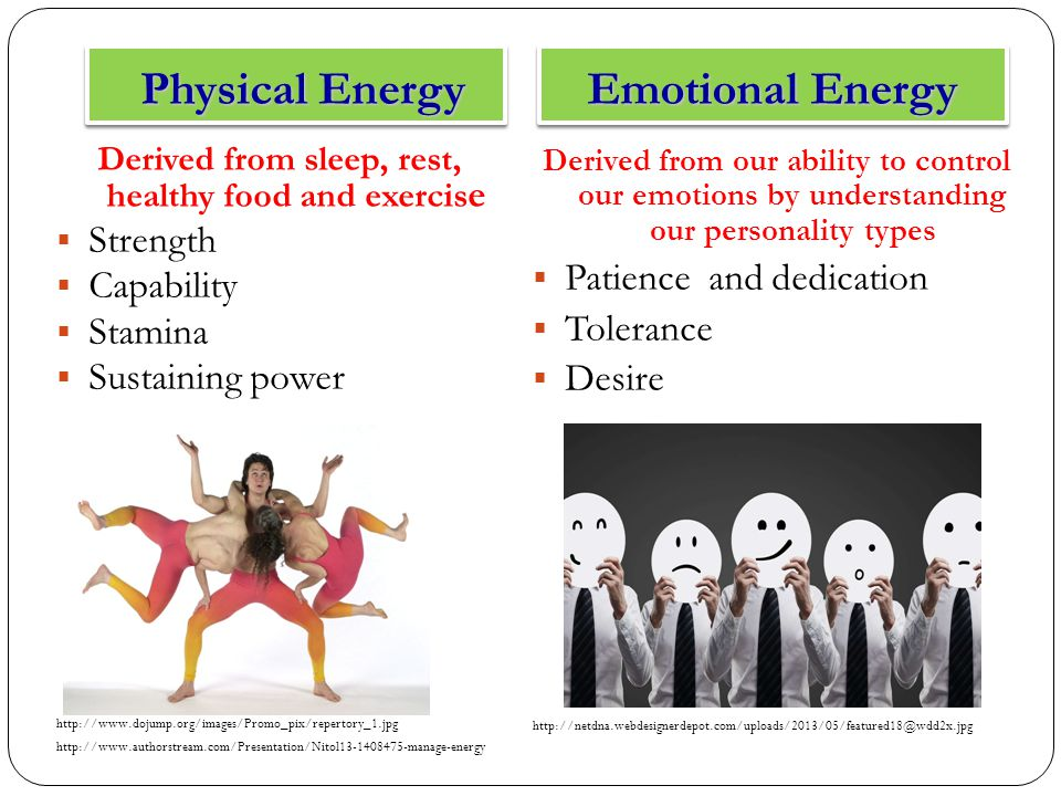 Physical Energy Physical Energy Emotional Energy Derived from sleep, rest, healthy food and exercis e  Strength  Capability  Stamina  Sustaining power http://www.dojump.org/images/Promo_pix/repertory_1.jpg http://www.authorstream.com/Presentation/Nitol13-1408475-manage-energy Derived from our ability to control our emotions by understanding our personality types  Patience and dedication  Tolerance  Desire http://netdna.webdesignerdepot.com/uploads/2013/05/featured18@wdd2x.jpg