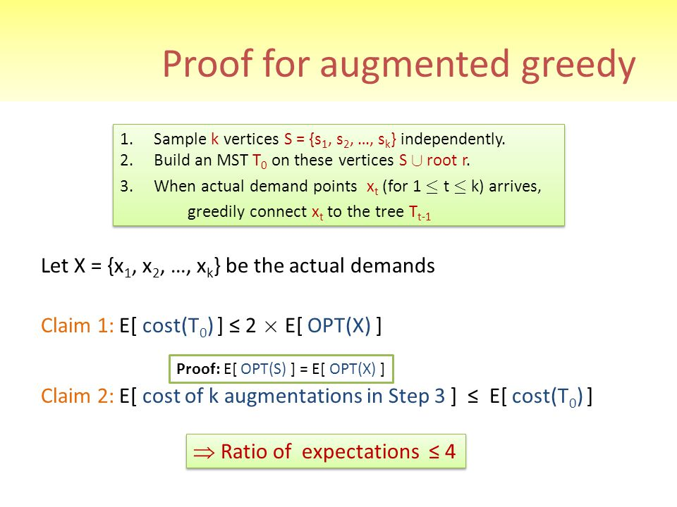 Proof for augmented greedy Let X = {x 1, x 2, …, x k } be the actual demands Claim 1: E[ cost(T 0 ) ] ≤ 2 £ E[ OPT(X) ] Claim 2: E[ cost of k augmenta