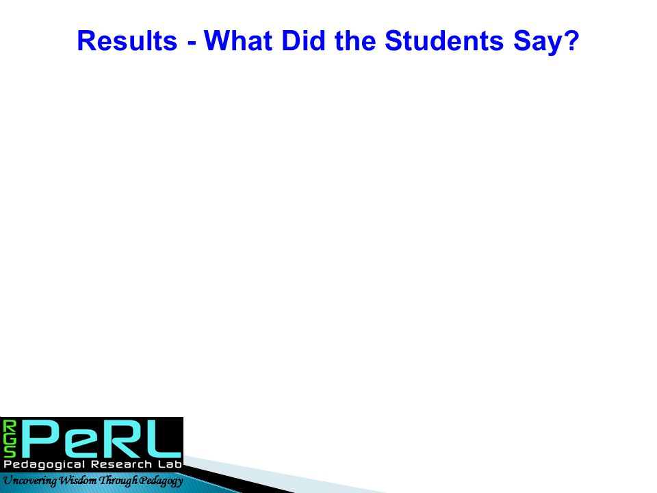Uncovering Wisdom Through Pedagogy Results - What Did the Students Say?