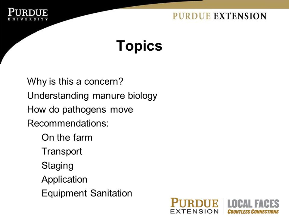 Topics Why is this a concern? Understanding manure biology How do pathogens move Recommendations: On the farm Transport Staging Application Equipment