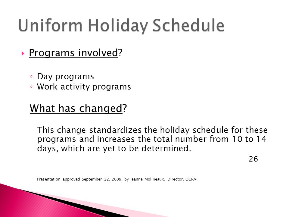  Programs involved. ◦ Day programs ◦ Work activity programs What has changed.
