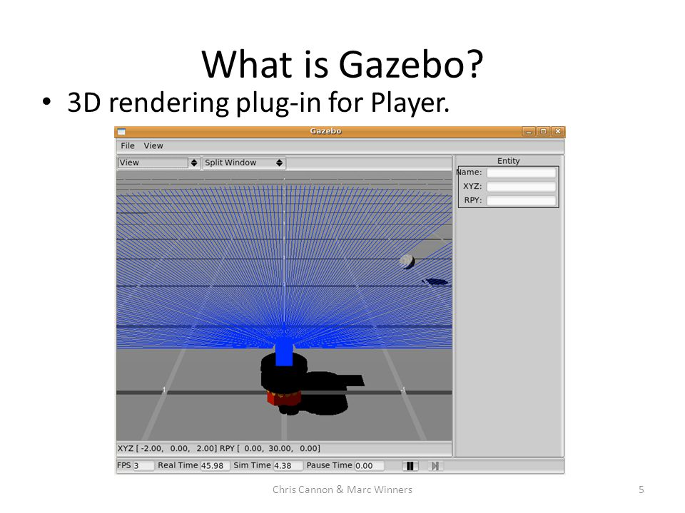 What is Gazebo? 3D rendering plug-in for Player. 5Chris Cannon & Marc Winners