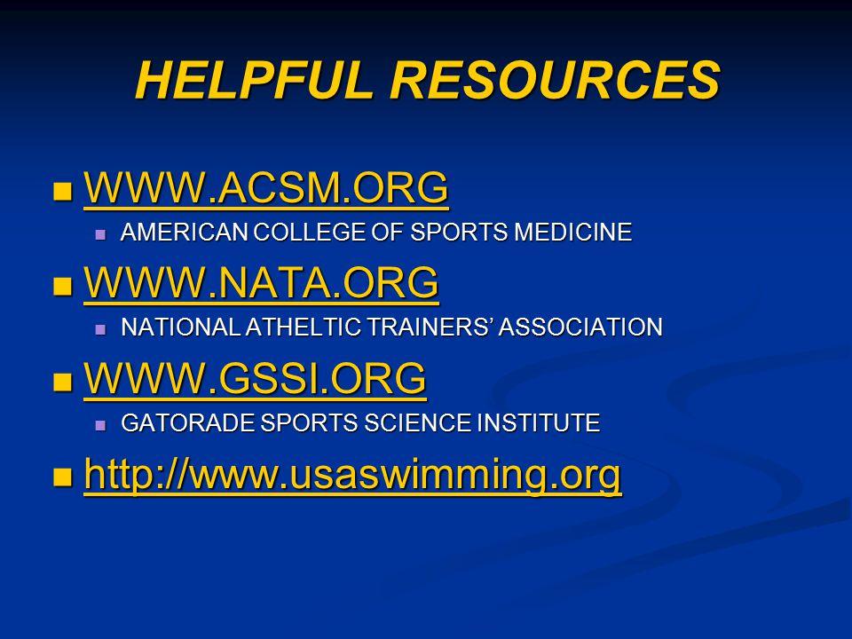 HELPFUL RESOURCES WWW.ACSM.ORG WWW.ACSM.ORG WWW.ACSM.ORG AMERICAN COLLEGE OF SPORTS MEDICINE AMERICAN COLLEGE OF SPORTS MEDICINE WWW.NATA.ORG WWW.NATA