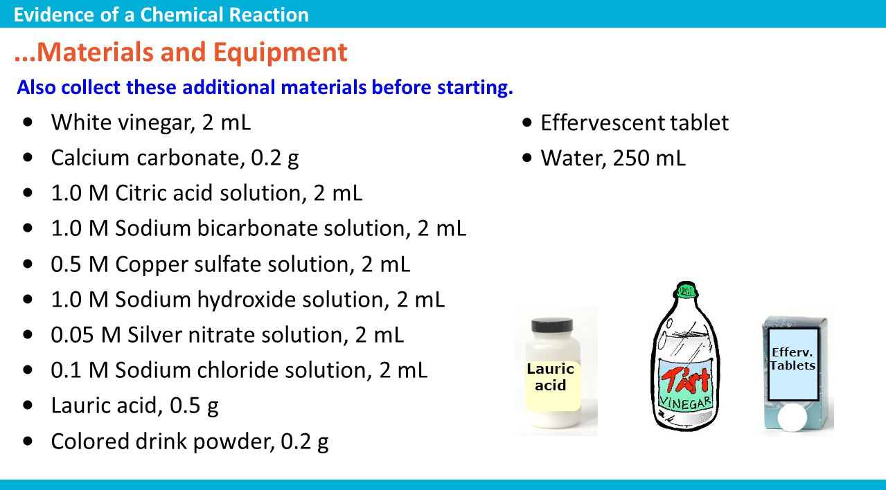 ...Materials and Equipment Also collect these additional materials before starting. White vinegar, 2 mL Calcium carbonate, 0.2 g 1.0 M Citric acid sol