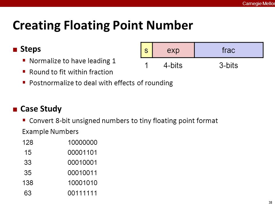 38 Carnegie Mellon Creating Floating Point Number Steps  Normalize to have leading 1  Round to fit within fraction  Postnormalize to deal with effe