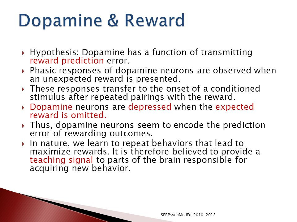  Hypothesis: Dopamine has a function of transmitting reward prediction error.