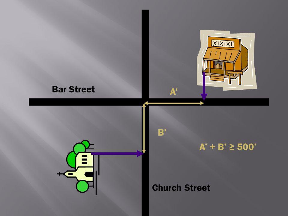 Church Street Bar Street A' B' A' + B' ≥ 500'