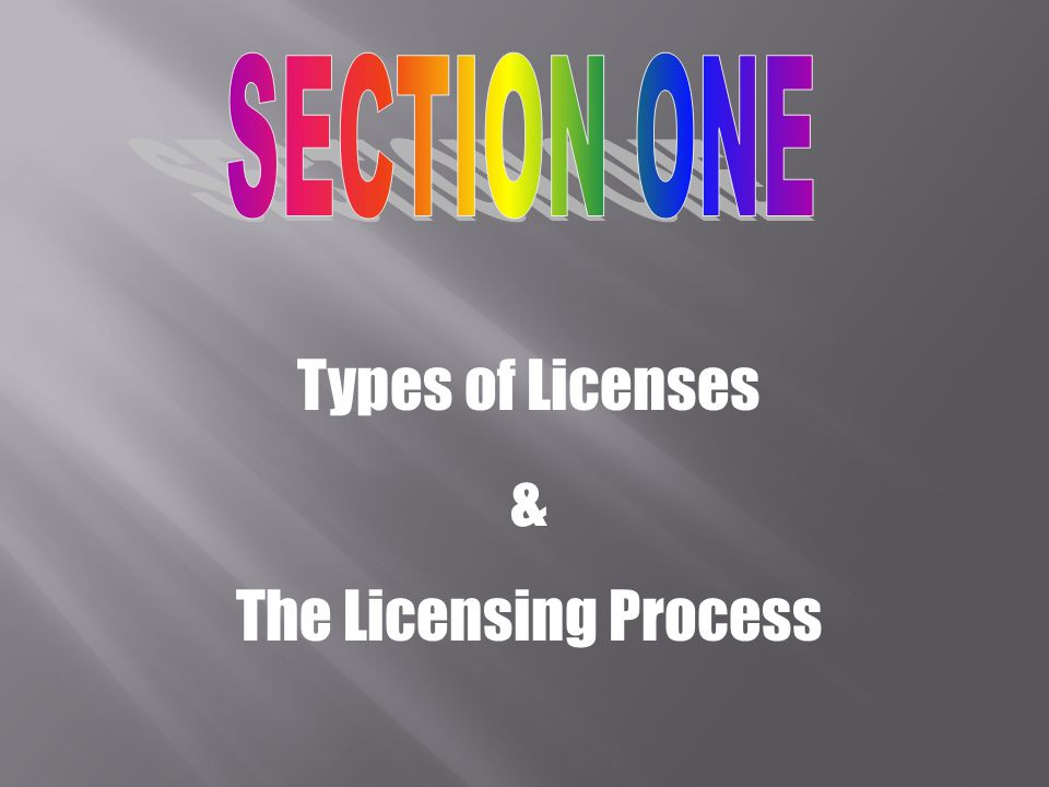 Types of Licenses & The Licensing Process