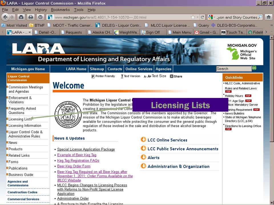 Licensing Lists