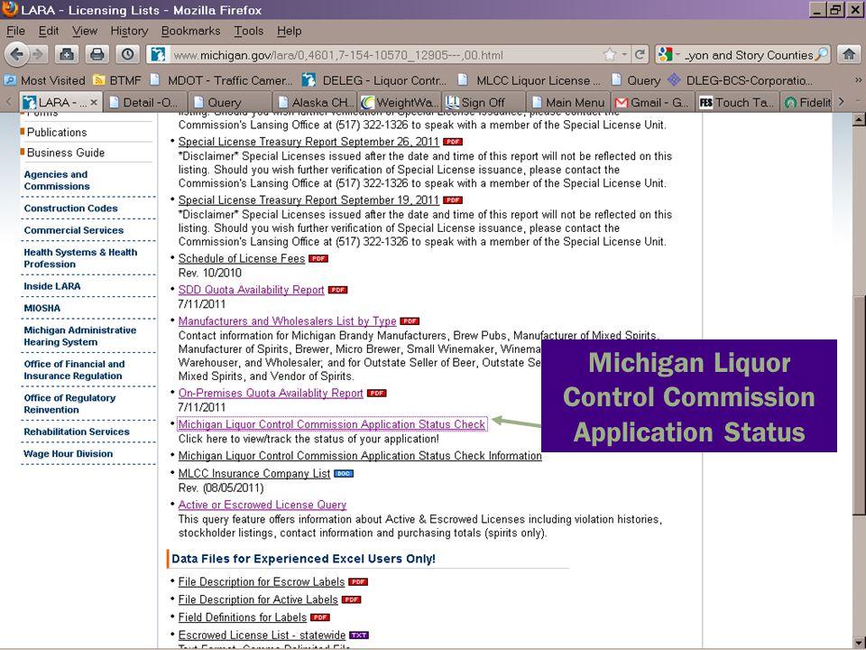Michigan Liquor Control Commission Application Status