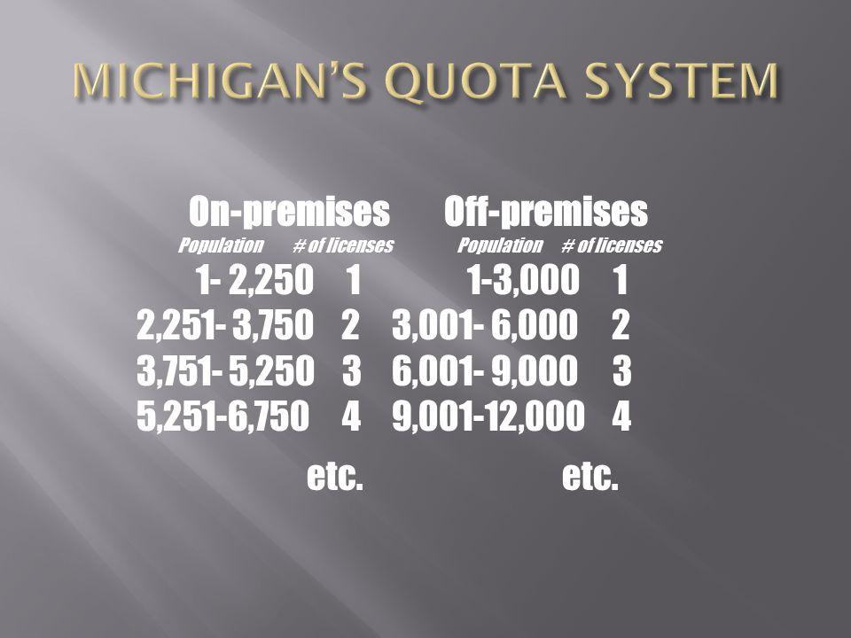 On-premises Off-premises Population # of licenses 1- 2,250 1 1-3,000 1 2,251- 3,750 23,001- 6,000 2 3,751- 5,250 3 6,001- 9,000 3 5,251-6,750 4 9,001-