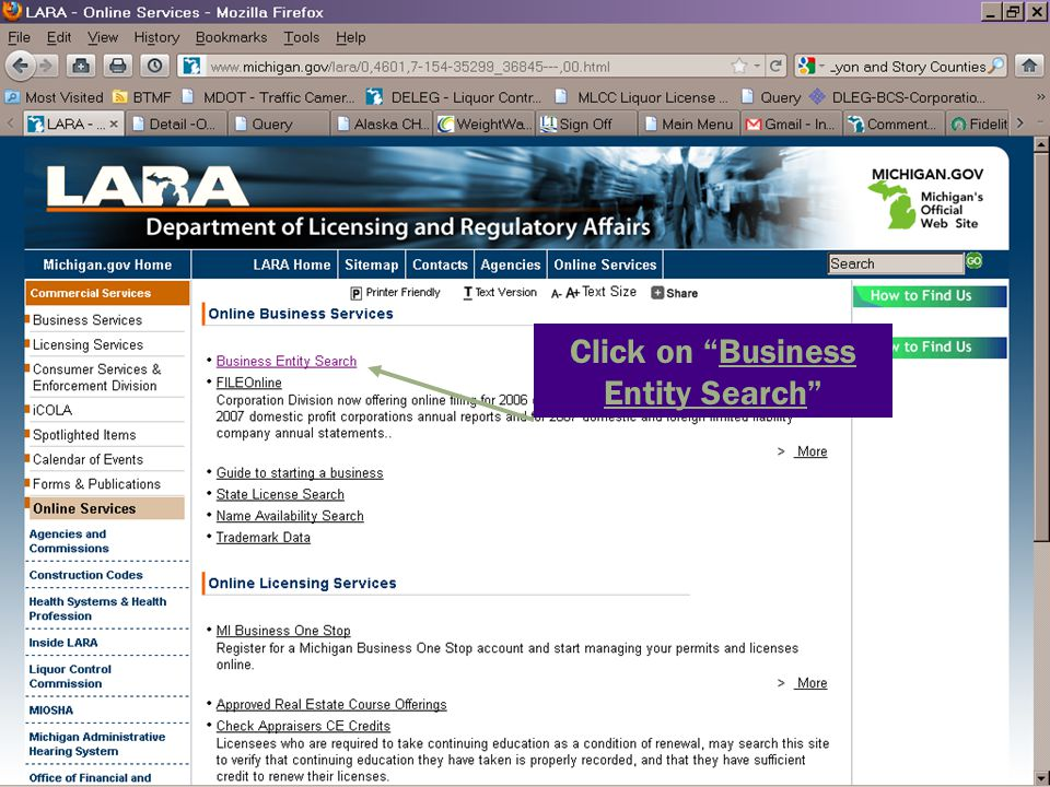 """Click on """"Business Entity Search"""""""
