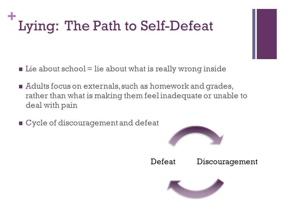 + Lying: The Path to Self-Defeat Lie about school = lie about what is really wrong inside Adults focus on externals, such as homework and grades, rather than what is making them feel inadequate or unable to deal with pain Cycle of discouragement and defeat DiscouragementDefeat