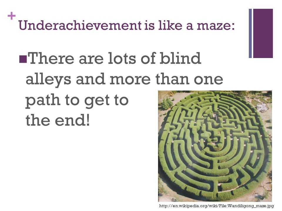 + Underachievement is like a maze: There are lots of blind alleys and more than one path to get to the end.