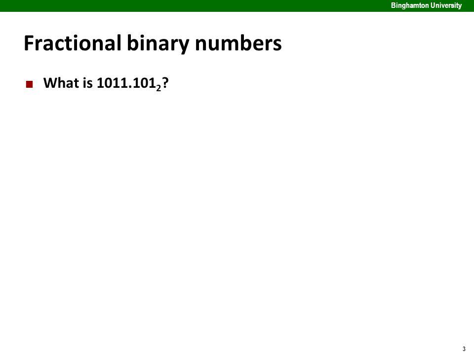 3 Binghamton University Fractional binary numbers What is 1011.101 2