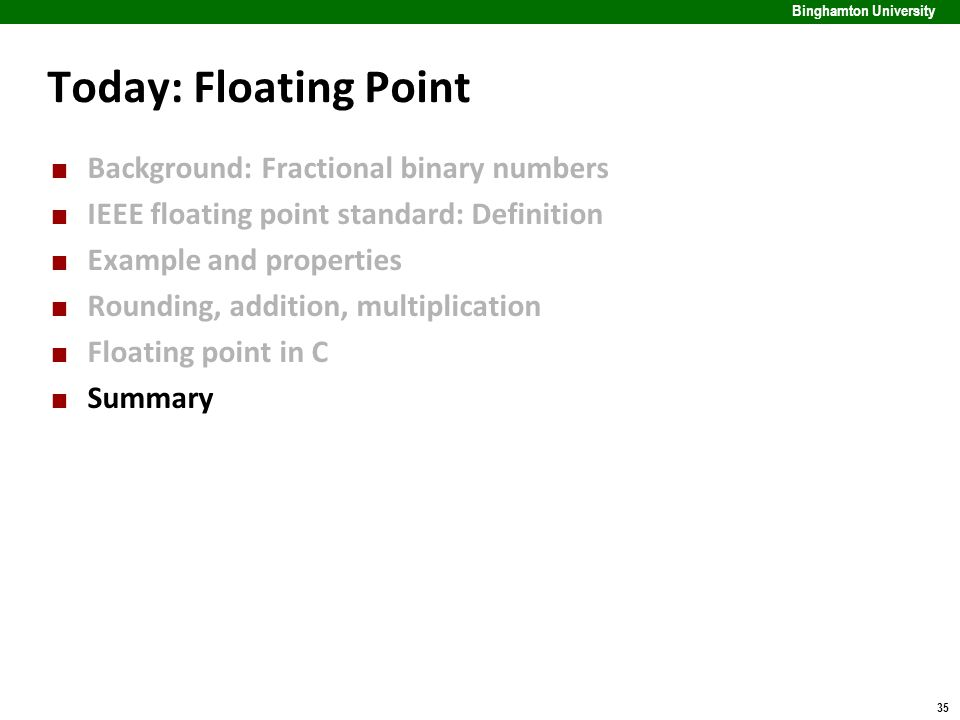 35 Binghamton University Today: Floating Point Background: Fractional binary numbers IEEE floating point standard: Definition Example and properties R