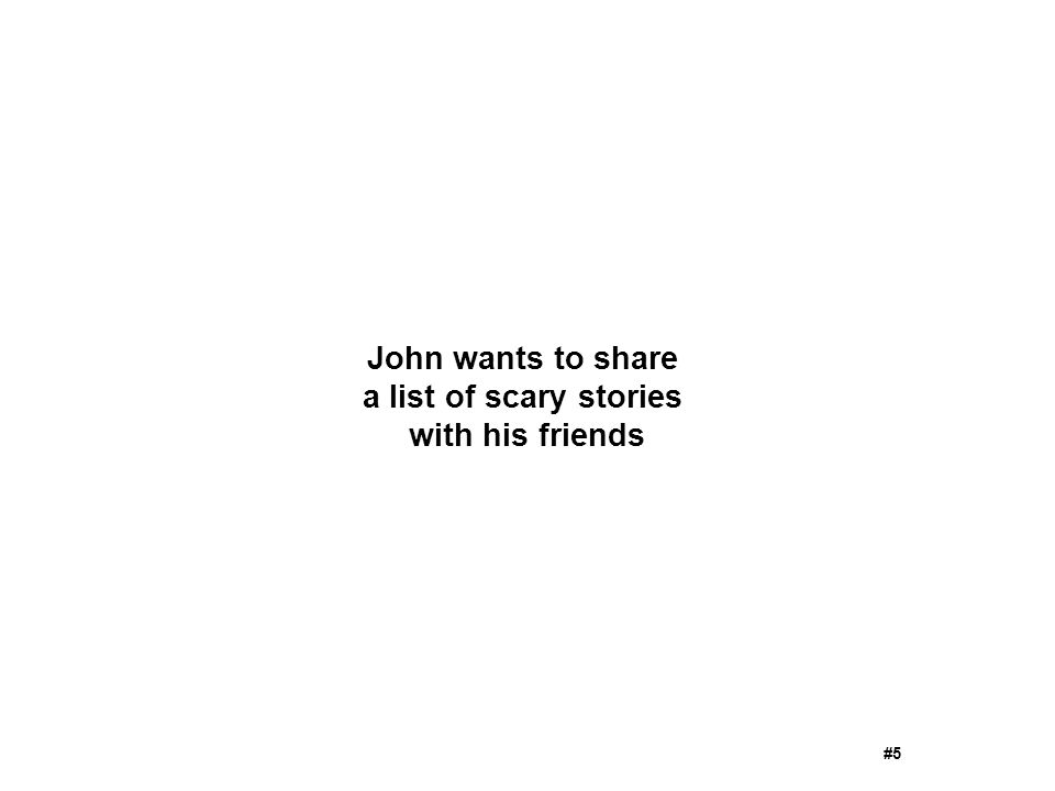 John wants to share a list of scary stories with his friends #5