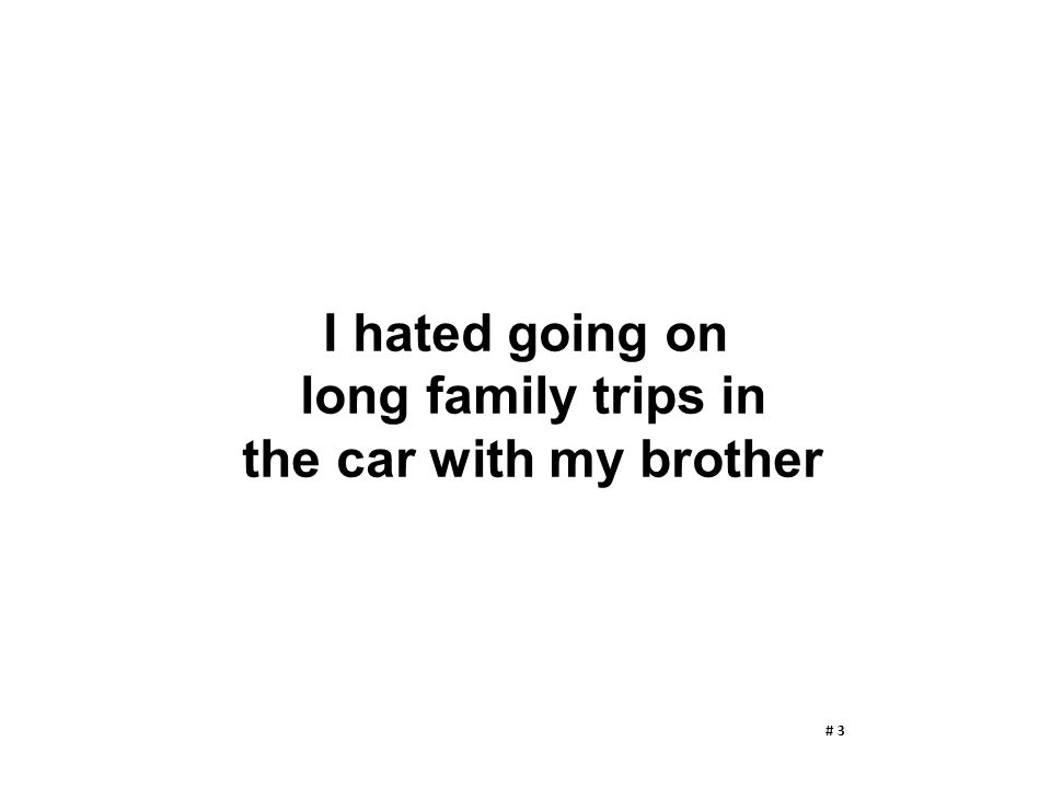 I hated going on long family trips in the car with my brother # 3