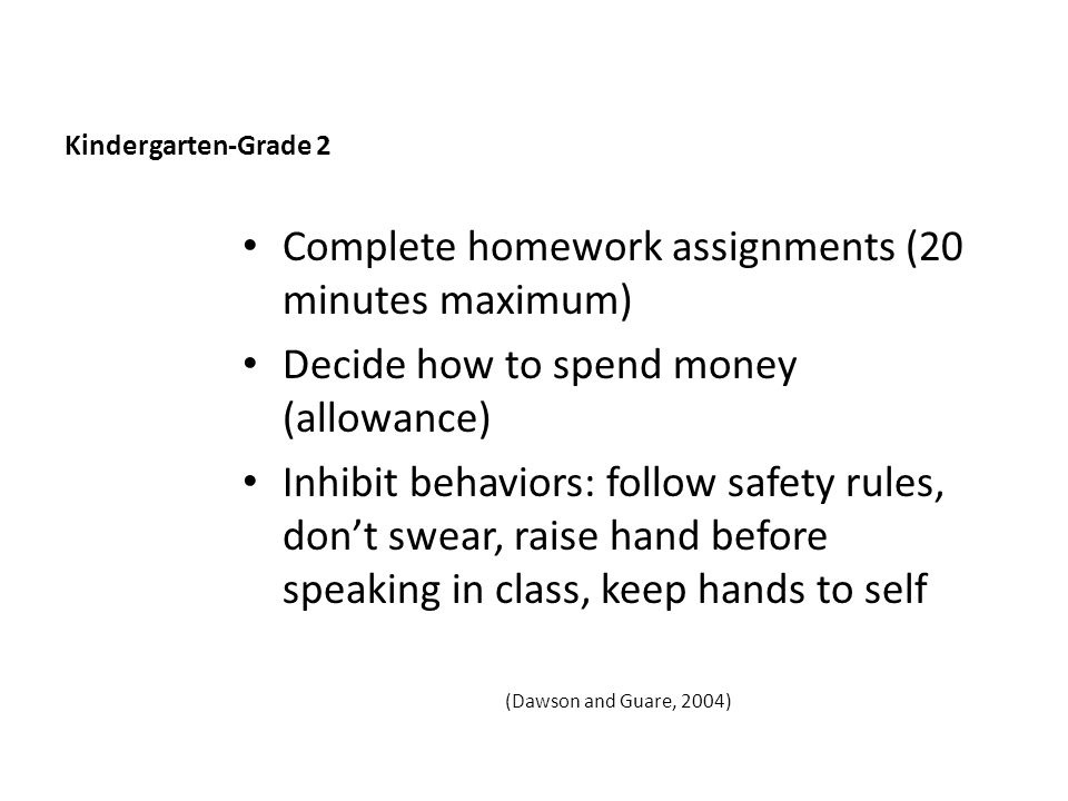 Kindergarten-Grade 2 Complete homework assignments (20 minutes maximum) Decide how to spend money (allowance) Inhibit behaviors: follow safety rules, don't swear, raise hand before speaking in class, keep hands to self (Dawson and Guare, 2004)